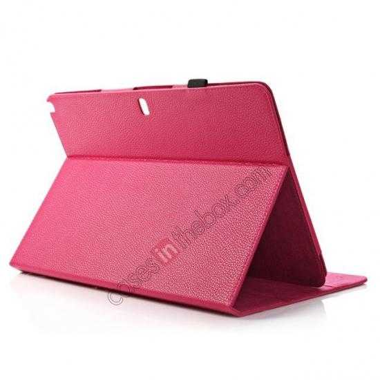 top quality Litchi Texture Flip Leather Book Folio Stand Case for Samsung Galaxy Tab Pro 12.2 P900 - Rose
