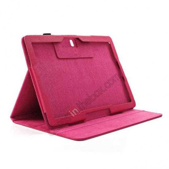best price Litchi Texture Flip Leather Book Folio Stand Case for Samsung Galaxy Tab Pro 12.2 P900 - Rose