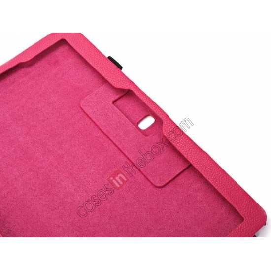 low price Litchi Texture Flip Leather Book Folio Stand Case for Samsung Galaxy Tab Pro 12.2 P900 - Rose
