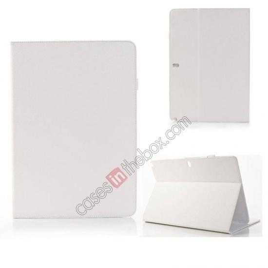 wholesale Litchi Texture Flip Leather Book Folio Stand Case for Samsung Galaxy Tab Pro 12.2 P900 - White