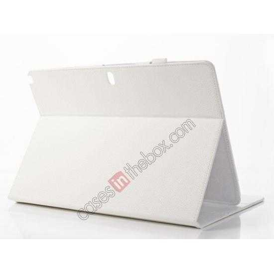 top quality Litchi Texture Flip Leather Book Folio Stand Case for Samsung Galaxy Tab Pro 12.2 P900 - White