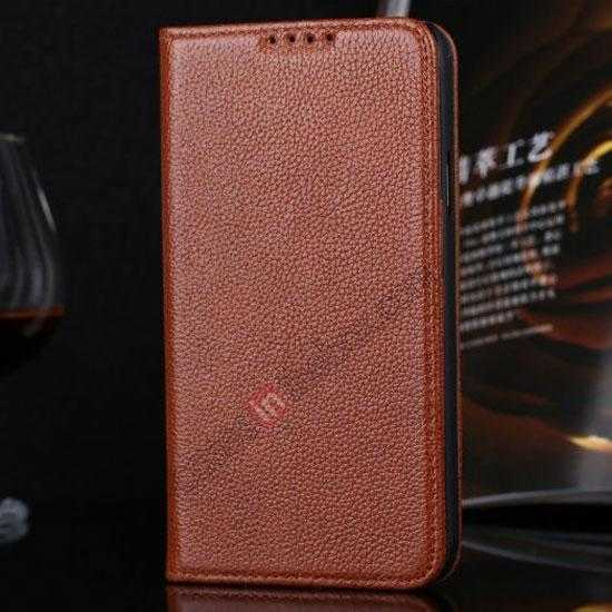 wholesale Litchi Texture Genuine Leather Flip Case for Samsung Galaxy S5 G900 - Brown