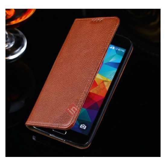 low price Litchi Texture Genuine Leather Flip Case for Samsung Galaxy S5 G900 - Brown