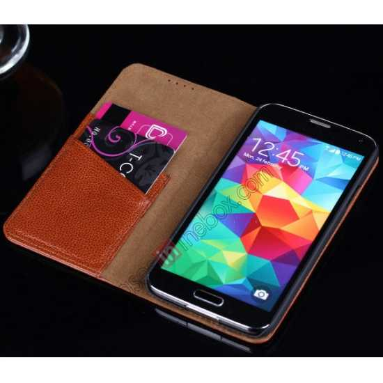 high quanlity Litchi Texture Genuine Leather Flip Case for Samsung Galaxy S5 G900 - Brown