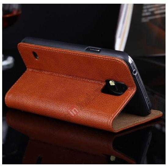 china wholesale Litchi Texture Genuine Leather Flip Case for Samsung Galaxy S5 G900 - Brown