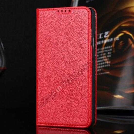 wholesale Litchi Texture Genuine Leather Flip Case for Samsung Galaxy S5 G900 - Red