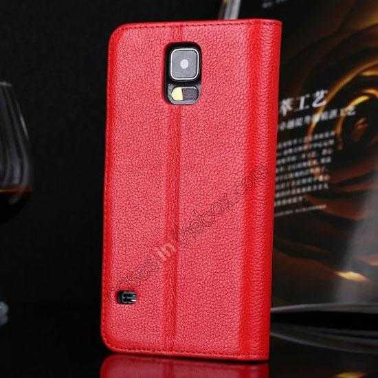 discount Litchi Texture Genuine Leather Flip Case for Samsung Galaxy S5 G900 - Red