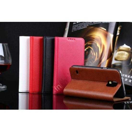 low price Litchi Texture Genuine Leather Flip Case for Samsung Galaxy S5 G900 - Red