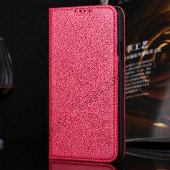 wholesale Litchi Texture Genuine Leather Flip Case for Samsung Galaxy S5 G900 - Rose