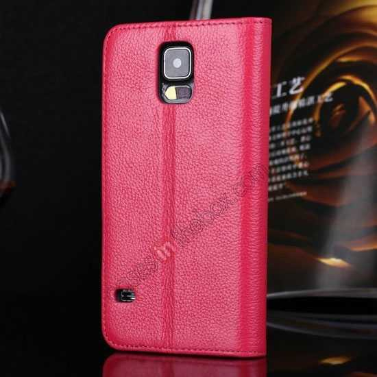 discount Litchi Texture Genuine Leather Flip Case for Samsung Galaxy S5 G900 - Rose