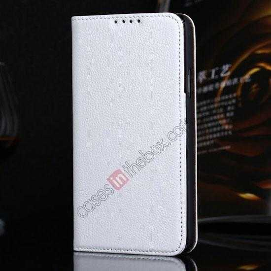 wholesale Litchi Texture Genuine Leather Flip Case for Samsung Galaxy S5 G900 - White