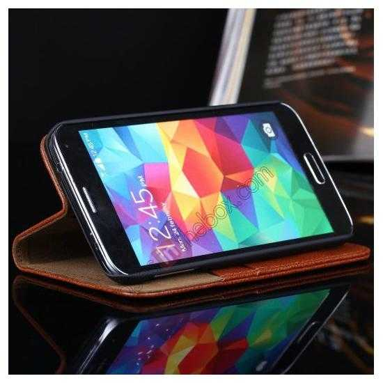 on sale Litchi Texture Genuine Leather Flip Case for Samsung Galaxy S5 G900 - White