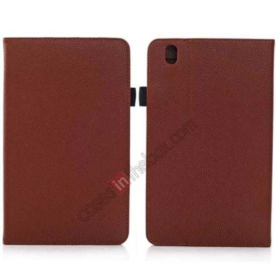 wholesale Litchi Texture Leather Stand Case with Holder for Samsung Galaxy Tab Pro 8.4 T320 - Brown