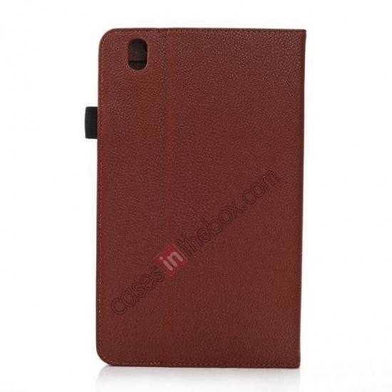 cheap Litchi Texture Leather Stand Case with Holder for Samsung Galaxy Tab Pro 8.4 T320 - Brown