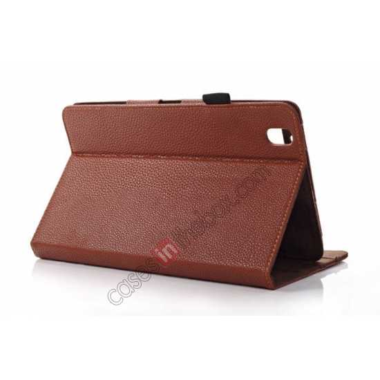 top quality Litchi Texture Leather Stand Case with Holder for Samsung Galaxy Tab Pro 8.4 T320 - Brown