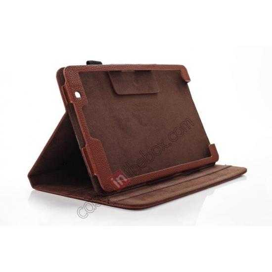 best price Litchi Texture Leather Stand Case with Holder for Samsung Galaxy Tab Pro 8.4 T320 - Brown