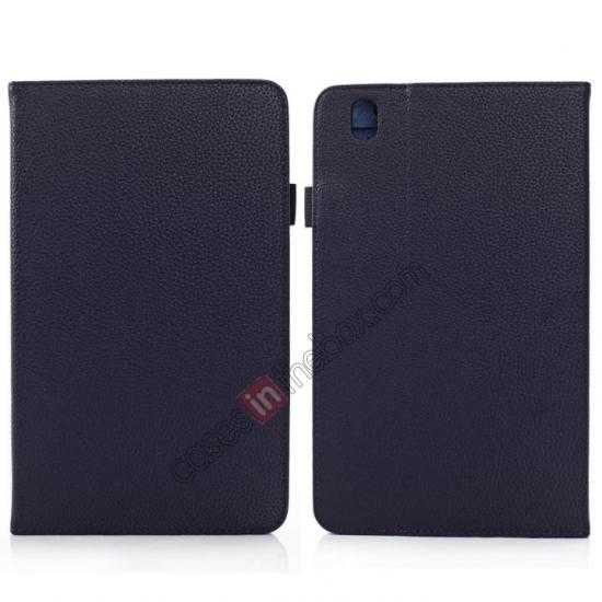 wholesale Litchi Texture Leather Stand Case with Holder for Samsung Galaxy Tab Pro 8.4 T320 - Dark Blue