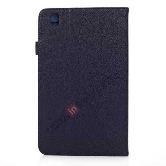 cheap Litchi Texture Leather Stand Case with Holder for Samsung Galaxy Tab Pro 8.4 T320 - Dark Blue