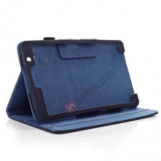 best price Litchi Texture Leather Stand Case with Holder for Samsung Galaxy Tab Pro 8.4 T320 - Dark Blue