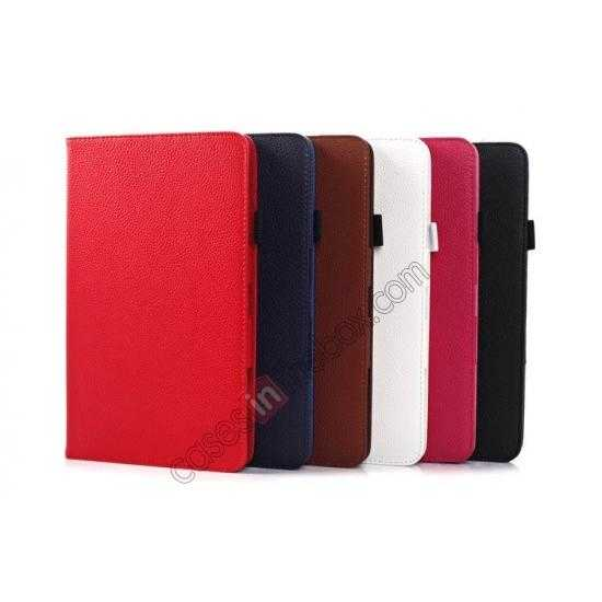 on sale Litchi Texture Leather Stand Case with Holder for Samsung Galaxy Tab Pro 8.4 T320 - Dark Blue