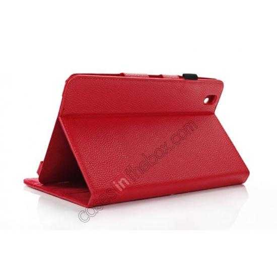 top quality Litchi Texture Leather Stand Case with Holder for Samsung Galaxy Tab Pro 8.4 T320 - Red