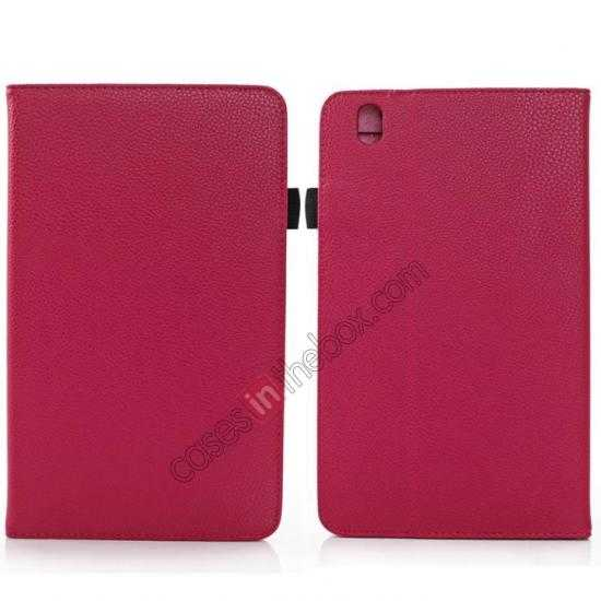 wholesale Litchi Texture Leather Stand Case with Holder for Samsung Galaxy Tab Pro 8.4 T320 - Rose