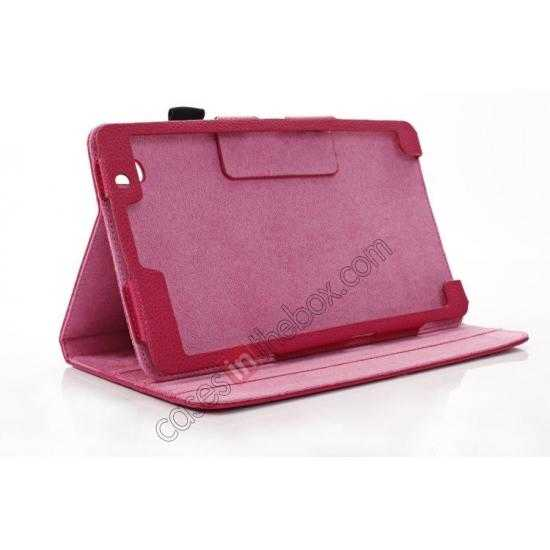 best price Litchi Texture Leather Stand Case with Holder for Samsung Galaxy Tab Pro 8.4 T320 - Rose