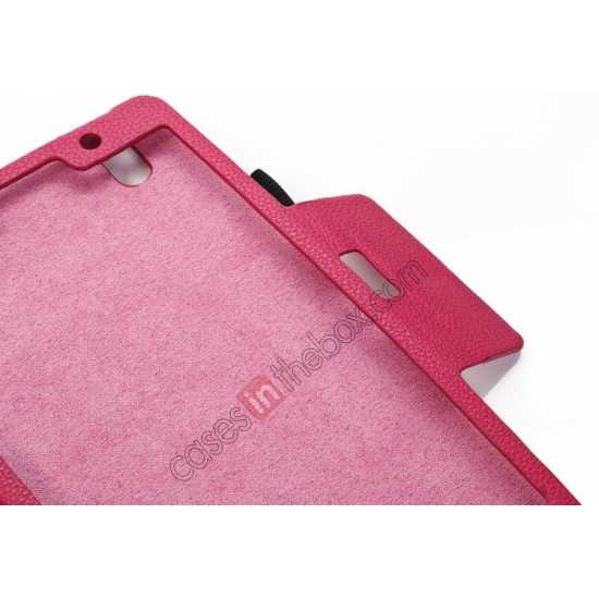 low price Litchi Texture Leather Stand Case with Holder for Samsung Galaxy Tab Pro 8.4 T320 - Rose