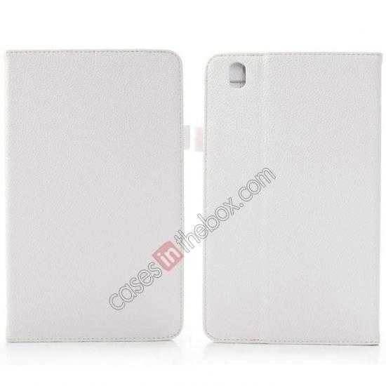 wholesale Litchi Texture Leather Stand Case with Holder for Samsung Galaxy Tab Pro 8.4 T320 - White