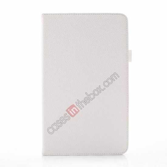 discount Litchi Texture Leather Stand Case with Holder for Samsung Galaxy Tab Pro 8.4 T320 - White