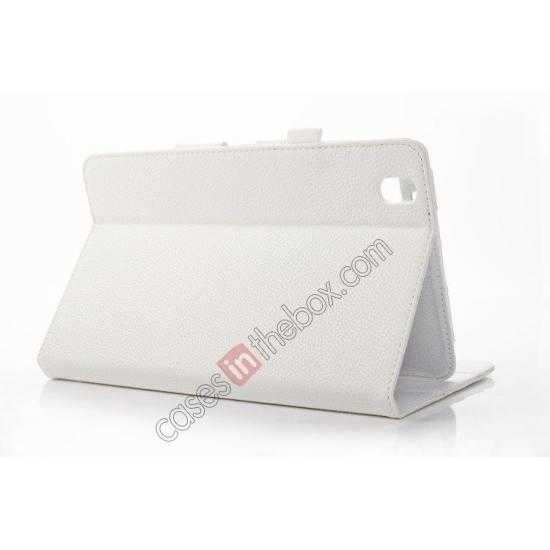 top quality Litchi Texture Leather Stand Case with Holder for Samsung Galaxy Tab Pro 8.4 T320 - White