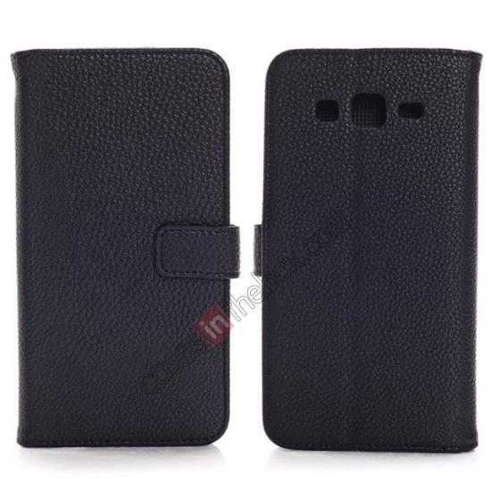 wholesale Litchi Wallet Leather Stand Case For Samsung Galaxy Grand 2 G7106 - Black