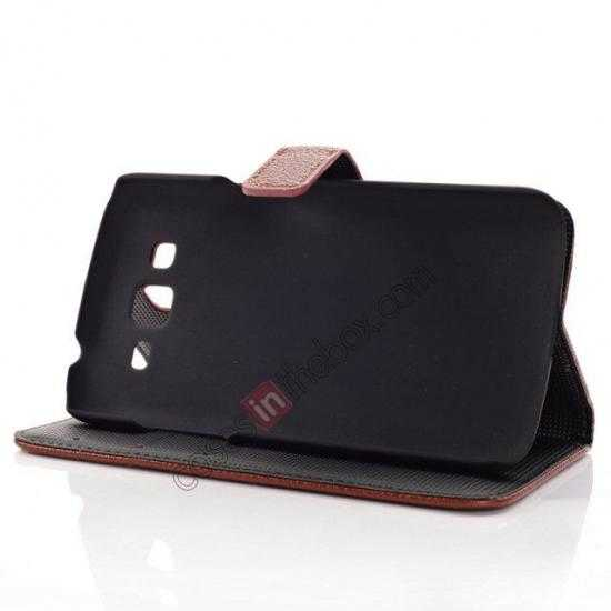 best price Litchi Wallet Leather Stand Case For Samsung Galaxy Grand 2 G7106 - Black