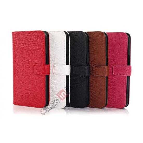 low price Litchi Wallet Leather Stand Case For Samsung Galaxy Grand 2 G7106 - Black