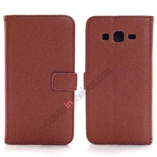 wholesale Litchi Wallet Leather Stand Case For Samsung Galaxy Grand 2 G7106 - Brown