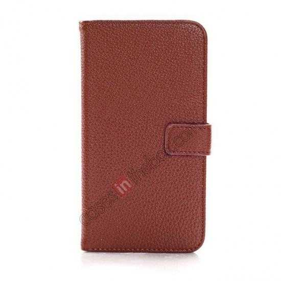 discount Litchi Wallet Leather Stand Case For Samsung Galaxy Grand 2 G7106 - Brown