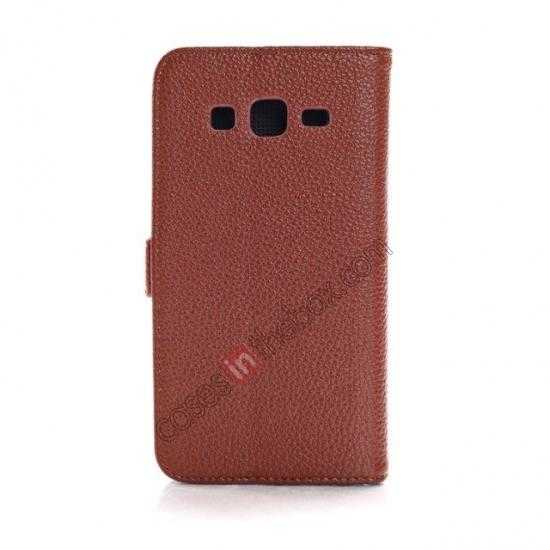 cheap Litchi Wallet Leather Stand Case For Samsung Galaxy Grand 2 G7106 - Brown