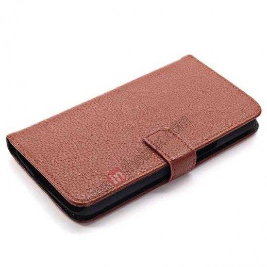 top quality Litchi Wallet Leather Stand Case For Samsung Galaxy Grand 2 G7106 - Brown