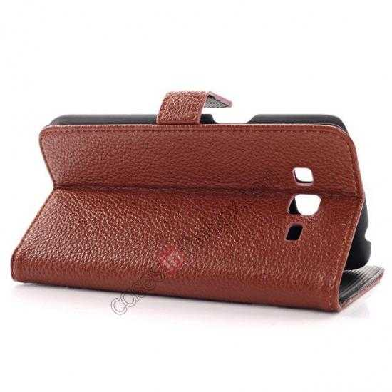best price Litchi Wallet Leather Stand Case For Samsung Galaxy Grand 2 G7106 - Brown