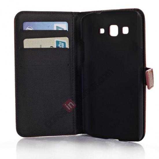 low price Litchi Wallet Leather Stand Case For Samsung Galaxy Grand 2 G7106 - Brown