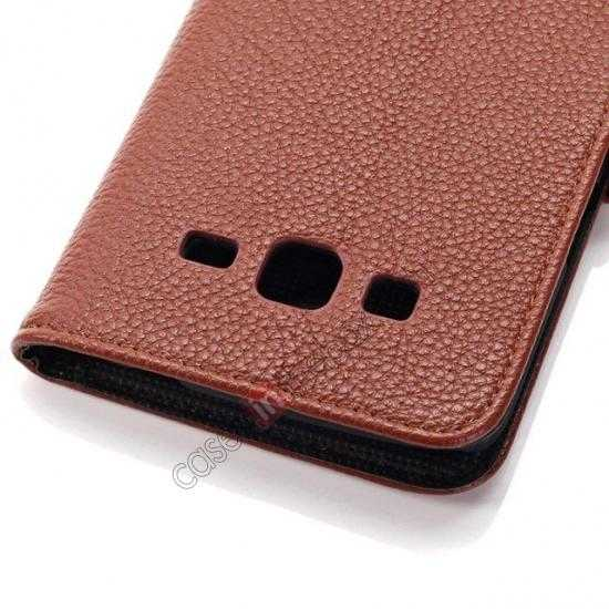 high quanlity Litchi Wallet Leather Stand Case For Samsung Galaxy Grand 2 G7106 - Brown