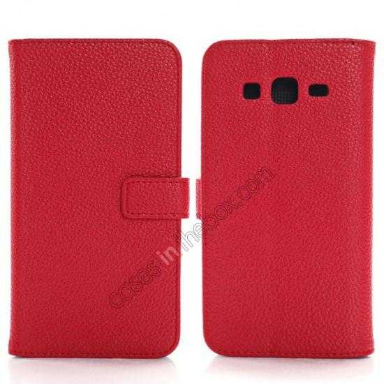 wholesale Litchi Wallet Leather Stand Case For Samsung Galaxy Grand 2 G7106 - Red