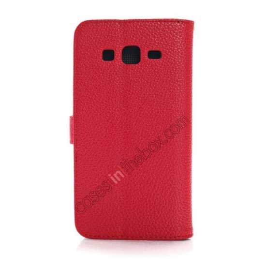cheap Litchi Wallet Leather Stand Case For Samsung Galaxy Grand 2 G7106 - Red