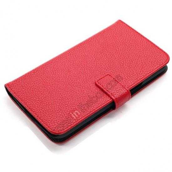 top quality Litchi Wallet Leather Stand Case For Samsung Galaxy Grand 2 G7106 - Red
