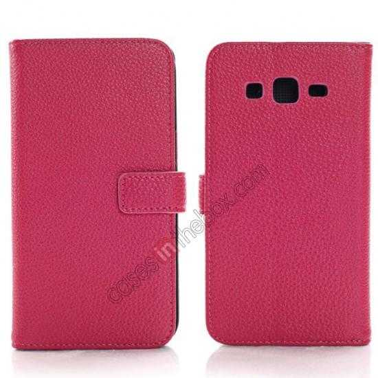 wholesale Litchi Wallet Leather Stand Case For Samsung Galaxy Grand 2 G7106 - Rose