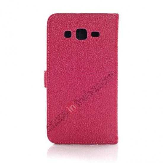 cheap Litchi Wallet Leather Stand Case For Samsung Galaxy Grand 2 G7106 - Rose
