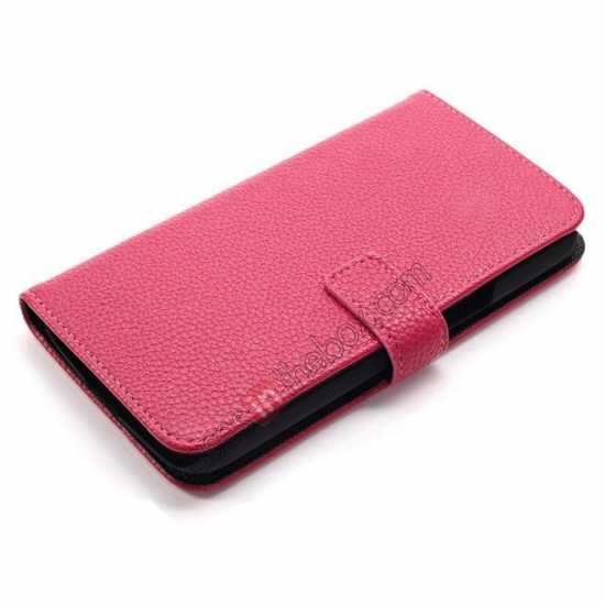 top quality Litchi Wallet Leather Stand Case For Samsung Galaxy Grand 2 G7106 - Rose
