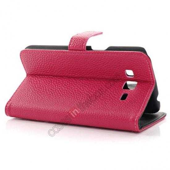 best price Litchi Wallet Leather Stand Case For Samsung Galaxy Grand 2 G7106 - Rose