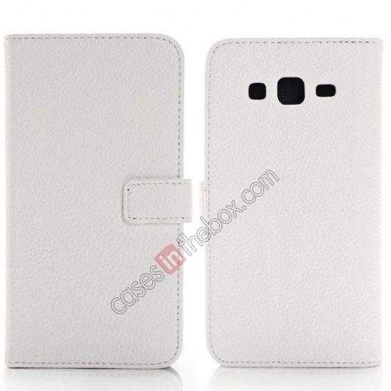 wholesale Litchi Wallet Leather Stand Case For Samsung Galaxy Grand 2 G7106 - White