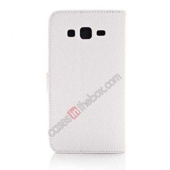 cheap Litchi Wallet Leather Stand Case For Samsung Galaxy Grand 2 G7106 - White